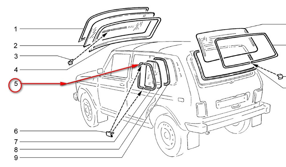 Lada Niva 2131 Side Window Front Left Molding